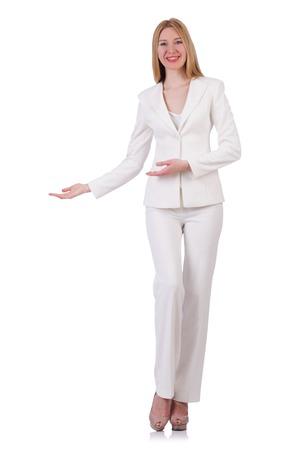 pret a porter: Elegant blond businesslady isolated on white Stock Photo
