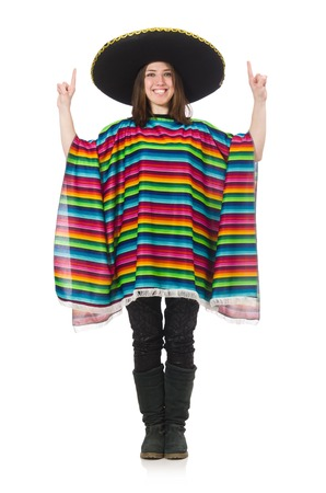 serape: Pretty mexican girl in vivid poncho isolated on white