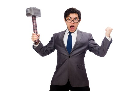 caucasian man: Business man holding hammer isolated on white Stock Photo