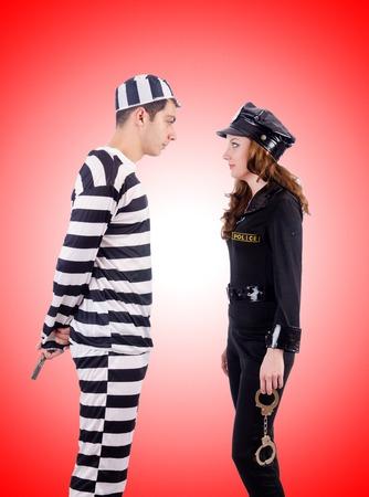 lawbreaker: Police and prison inmate against the gradient