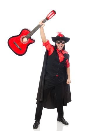 serenade: Young man in carnival coat  with guitar isolated on white