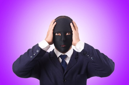 insincere: Man with mask against the gradient