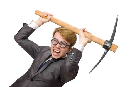 hatchet man: Young businessman with weapon isolated on white Stock Photo