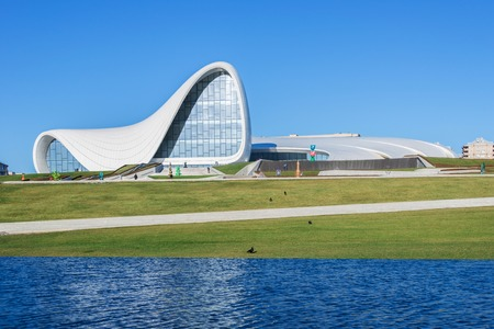 azeri: BAKU- DECEMBER 27: Heydar Aliyev Center on December 27, 2014 in Baku, Azerbaijan. Heydar Aliyev Center won the Design Museums Designs of the Year Award in 2014