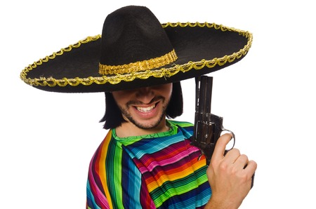 poncho: Handsome man in vivid poncho holding gun isolated on white Stock Photo