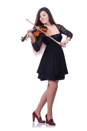 woman violin: Woman performer playing violin on white