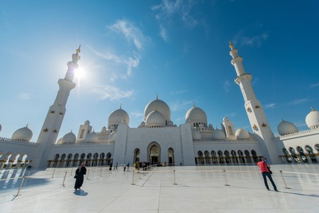 sheikh zayed mosque: Dubai - JANUARY 9, 2015: Sheikh Zayed mosque on January 9 in UAE, Dubai. Sheikh Zayed mosque is the largest in UAE