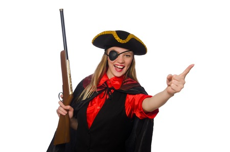 tricorn hat: Pretty girl in carnival clothing  with hand gun isolated on white