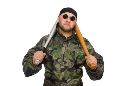 infantryman: Young man in soldier uniform holding bludgeon isolated on white