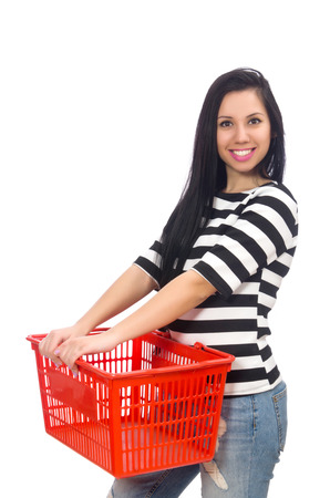 reach customers: Woman with shopping cart isolated on white