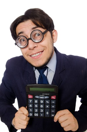 fraudster: Funny man with calculator isolated on white
