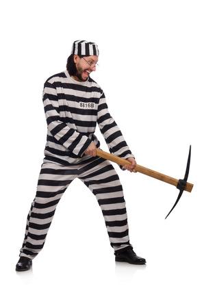 ax man: Prison inmate with axe isolated on white Stock Photo