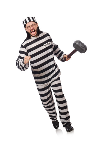 an inmate: Prison inmate with hammer isolated on white Stock Photo