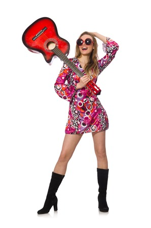 woman guitar: Woman guitar player isolated on white
