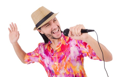 discoteque: Man in colourful shirt isolated on white