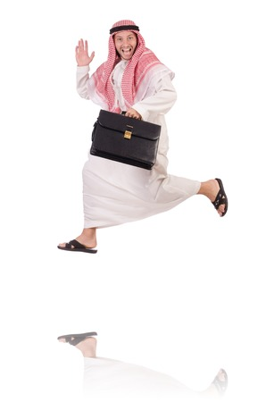 suriyah: Jumping arab businessman isolated on the white