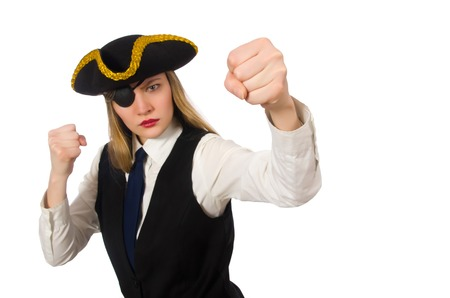 tricorn hat: Pretty pirate girl isolated on white Stock Photo
