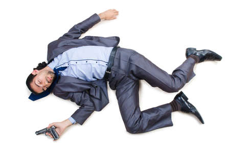 fainted: Businessman on the floor isolated on white Stock Photo