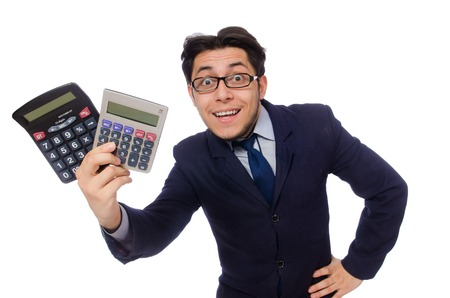 account executive: Funny man with calculator isolated on white
