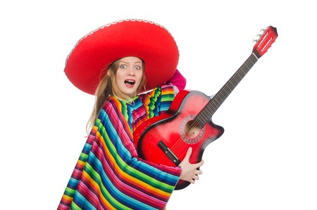 poncho: Pretty girl in mexican poncho with guitar isolated on white Stock Photo