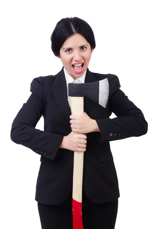 woman handle success: Businesswoman with axe isolated on white