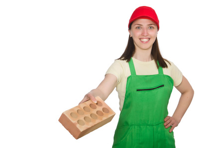 clay brick: Woman holding clay brick isolated on white