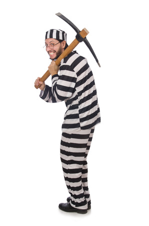 an inmate: Prison inmate with axe isolated on white Stock Photo