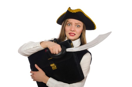 tricorn hat: Pirate girl holding bag and sword isolated on white