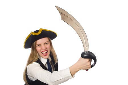 tricorn hat: Pretty pirate girl holding sword isolated on white