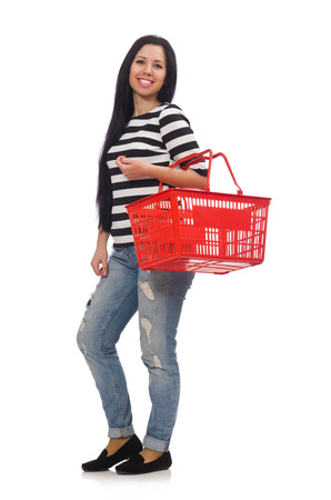 woman shopping cart: Woman with shopping cart isolated on white