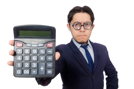 cheater: Funny man with calculator isolated on white