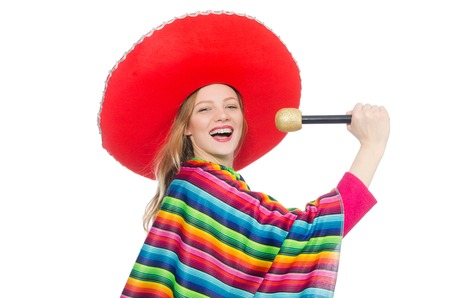 poncho: Pretty girl in mexican poncho singing isolated on white
