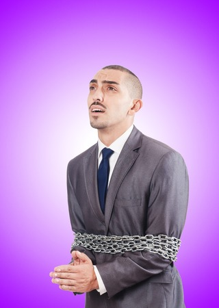 arrested: Arrested businessman in studio shooting Stock Photo