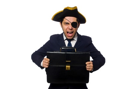 one eyed: Young one eyed captain with briefcase isolated on white