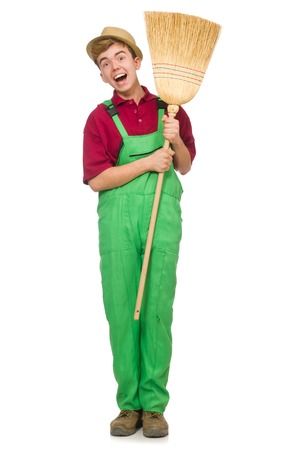 janitor: Man janitor isolated on the white Stock Photo