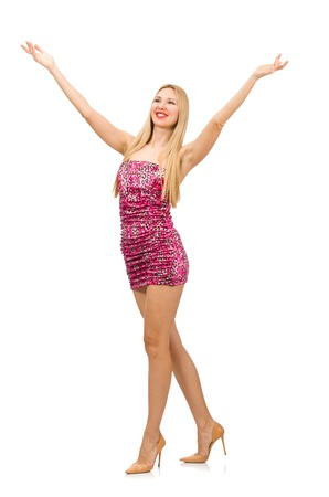 strapless dress: Young woman in strapless dress isolated on white