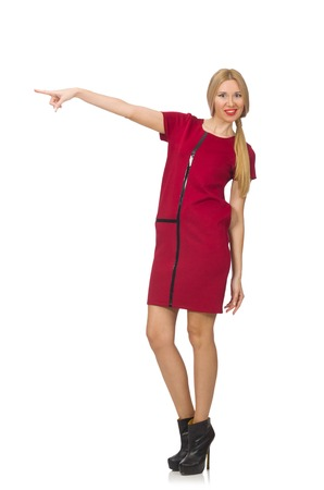 bordo: Blond hair woman in bordo dress isolated on white