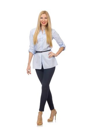 blusa: Mujer en blusa azul aislado en blanco
