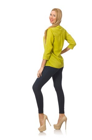 yellow shirt: Woman in yellow shirt isolated on white