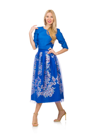 cerulean: Woman in blue dress with flower prints isolated on white Stock Photo