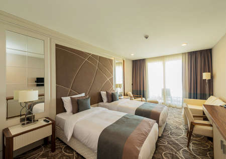 room decoration: Hotel room with modern interior