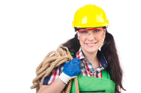 studio happy overall: Female workman in green overalls isolated on white Stock Photo