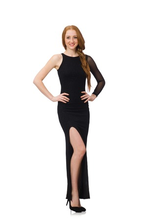 black dress: Young lady in elegant black dress isolated on white