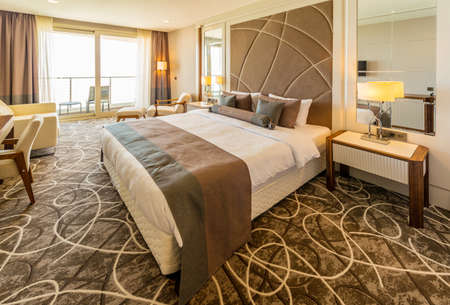 luxury hotel room: Hotel room with modern interior