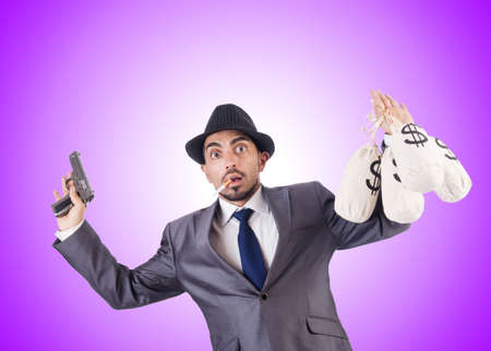 criminal: Businessman criminal with sacks of money Stock Photo