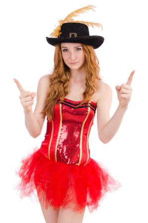 carnaval: Jeune fille aux cheveux rouge en costume de carnaval isol� sur blanc Banque d'images