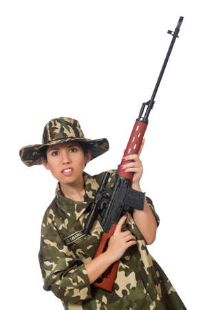 militant: Woman with sniper weapong isolated on white