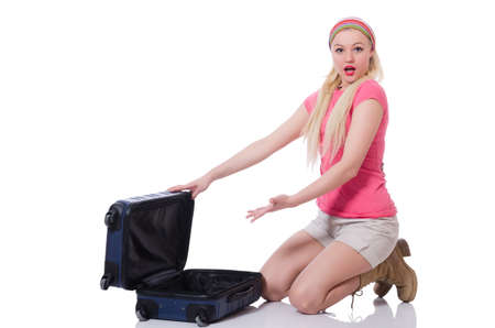into: Woman with suitcase broken into
