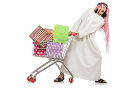 reach customers: Arab man doing shopping isolated on white Stock Photo