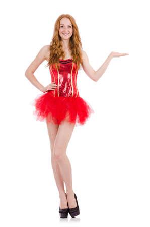 carnaval: Jeune fille aux cheveux rouge en costume de carnaval isolé sur blanc Banque d'images